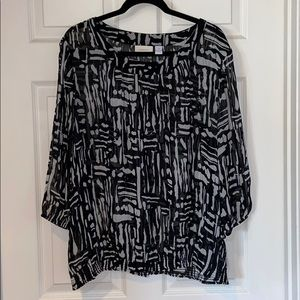 Chico's sheer cold shoulder gathered waist blouse